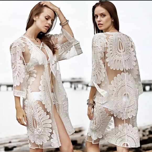 6bd5dd518158a Swim | Sheer Boho Lace Kimono Cardigan Suit Cover Up | Poshmark